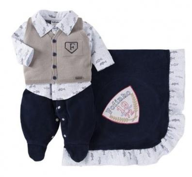 Saída De Maternidade Menino 03 Peças (Azul)