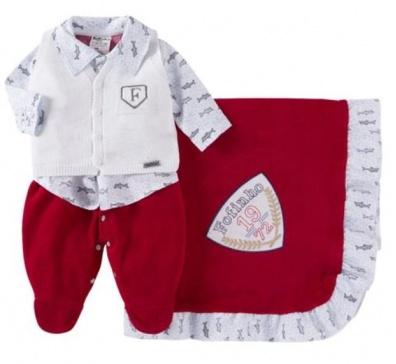 Saída De Maternidade Menino 03 Peças (Vermelho)