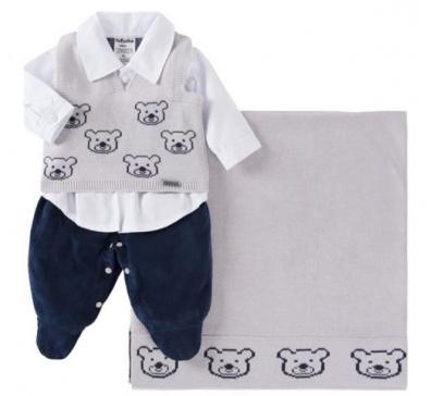 Saída De Maternidade Menino 03 Peças Urso Azul