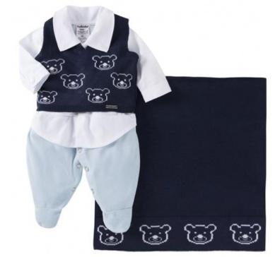 Saída De Maternidade Menino 03 Peças Urso Marinho