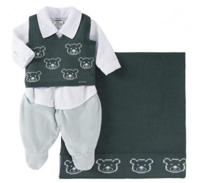 Saída De Maternidade Menino 03 Peças Urso Verde