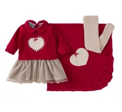 Saída De Maternidade Menina 03 Peças Vermelho