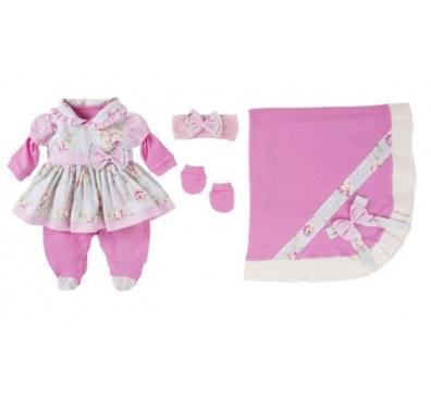 Saída De Maternidade 05 Peças Menina Charmosa Pink
