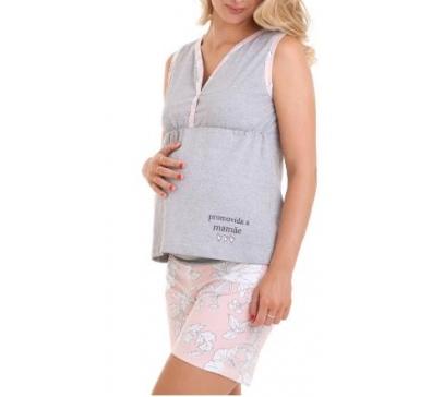 Pijama Curto Amamentação Gestante Estampado - Luna Cuore 6016